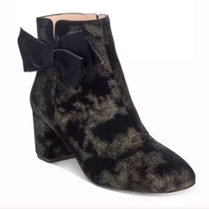 Kate Spade Langley Black Gold Velvet Ankle Booties